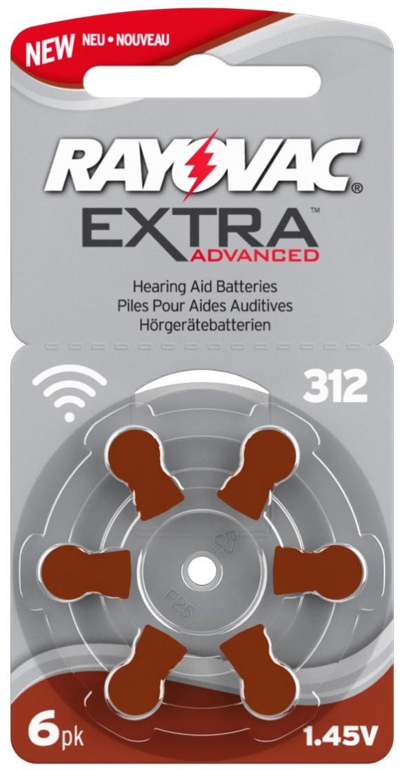 Pilas audífono Rayovac Extra Advanced 312 (Marrón) 6u.